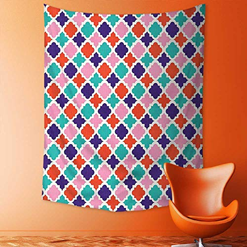 Wall Tapestries Colorful Mosaic Tiles Oriental Asian Islamic Ikat Indonesian Patterns Motifs Decorative Tapestry Table Cover Bedspread Beach Towel Lattern by aolankaili