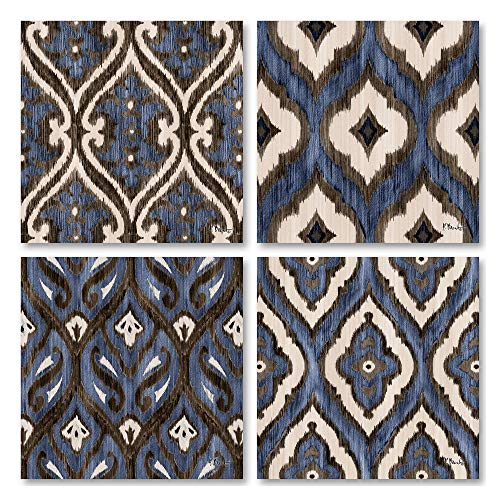 - Gango Home Décor Blue Brown and White Indigo Ikat Patterned Prints; Four 12x12 Poster Prints