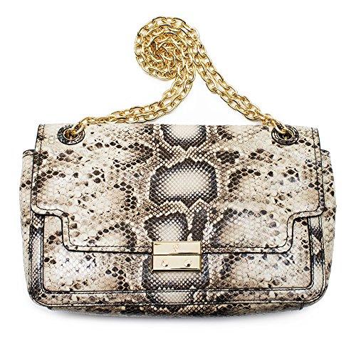 Tory Burch Elise Snake Shoulder Bag Natural Ivory NEW