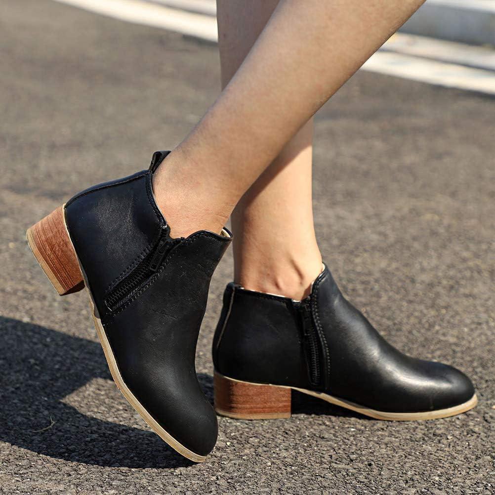 Minetom Femme Bottes Chelsea Mode Couleur Unie PU Nubuck Chaussures Casual Zip Bloc Talons Bas Automne Hiver Ankle Boots Bootie