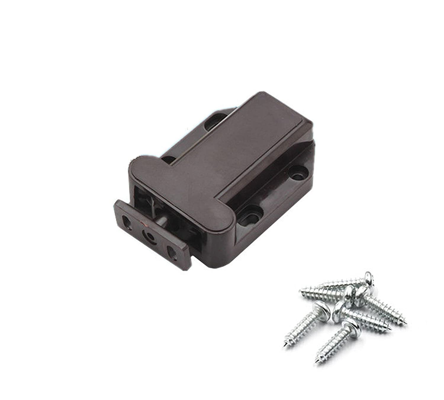 Antrader Non-Magnetic Touch Latch Cabinet Cupboard Door Plastic Release Catch Brown 4pcs