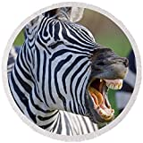 Pixels Round Beach Towel With Tassels featuring ''Close-up Of A Zebra Calling, Ngorongoro'' by Pixels