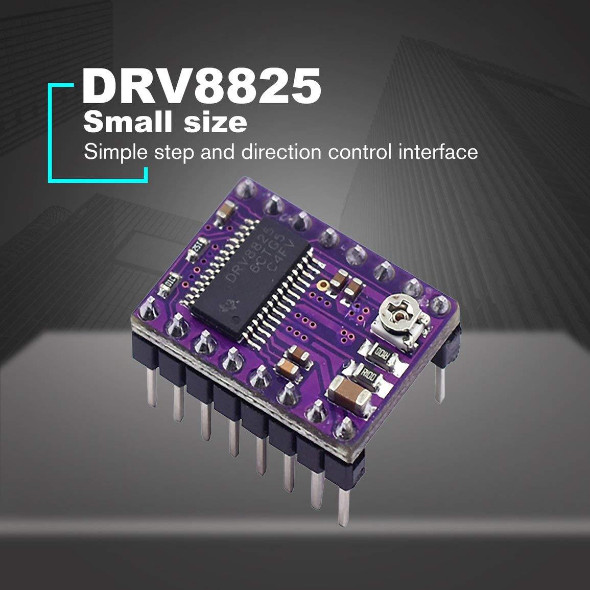 Controlador del motor paso a paso DRV8825 StepStick Silencio Rampas del controlador 1.4 Reprap 4 M/ódulo de PCB con el disipador de calor Pinter de pieza en 3D Accesorios Color: Negro