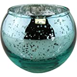 "Just Artifacts Round Mercury Glass Votive Candle Holder 2""H (Speckled Aqua, Set of 12) - Mercury Glass Votive Candle Holders for Weddings and Home Décor"