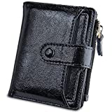 Womens Walllet Multi Card Case Genuine Leather Clutch Wallet with Zipper Pocket (Black)