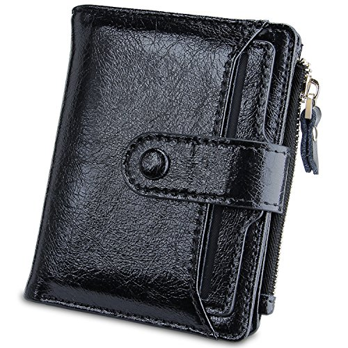 Womens Walllet Multi Card Case Genuine Leather Clutch Wallet with Zipper Pocket (Black) by YUNCE