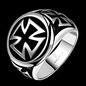 Fahion Men Vintage Style cross Chrome Ring - Size US10