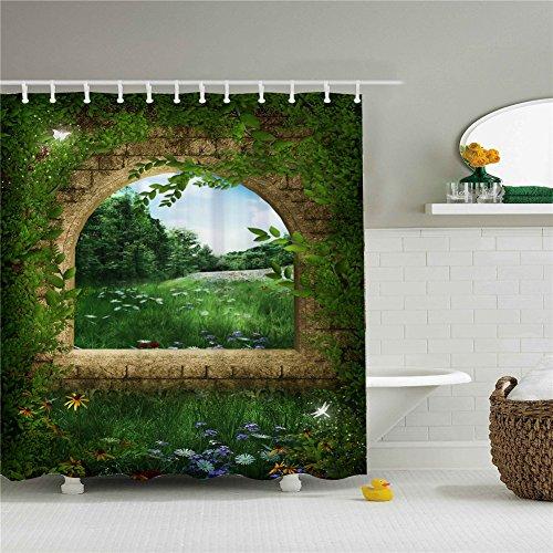 Green Stone Window Shower Curtain Set 66