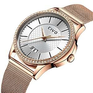 CIVO Relojes para Mujer Pulsera de Malla a Prueba de Agua Fecha Calendario Reloj de Lujo para Mujer de Negocios Mujer Relojes de Pulsera con Correa de Reloj de Malla de Acero Inoxidable (Plateado)