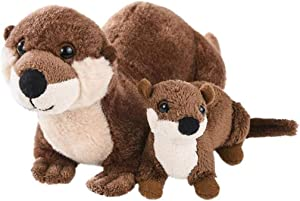 Mom and Baby Mini Stuffed Animals for Boys and Girls, Safari Baby Shower Decorations, Nursery Decor, Zoo Animals for Toddlers, Realistic Toys, Soft, Huggable and Squeezable (River Otter)