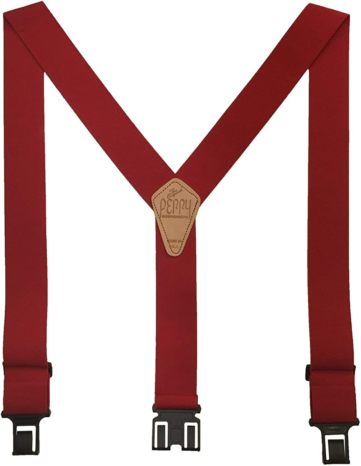 Perry Braces Mens Elastic Hook End 2 Inch Work Braces Red SIZE REGULAR