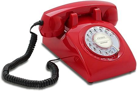 Opis FunkyFon Retro Festnetz-// Tischtelefon mit Wählscheibe Stil 1920er rot