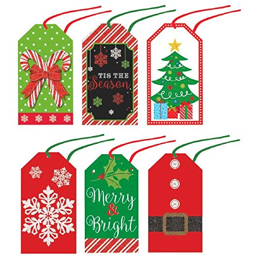 Assorted Modern Christmas Tape-on Paper Tags, 36 Ct.   Party Accessory