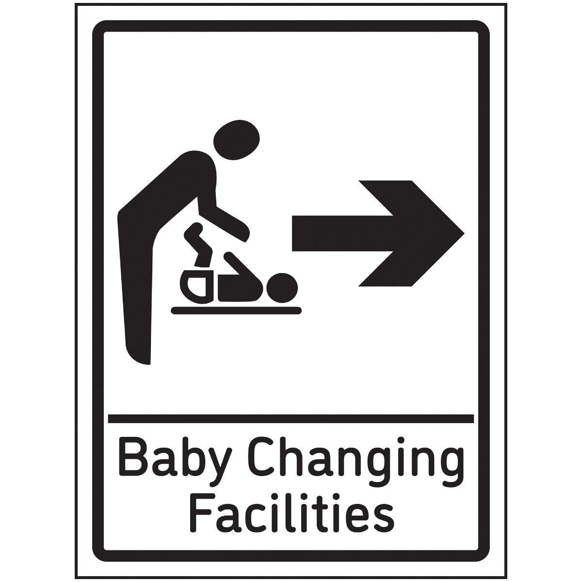 Señal de flecha derecha de VSafety para cambiador de bebé, 150 x 200 mm, autoadhesiva, efecto de aluminio