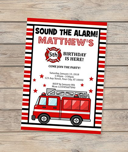 Fire Truck Invitation, Custom Fire Engine Birthday Party Invitation, Sound The Alarm, Red Firetruck, Fire Engine Invites, Red And White Stripes