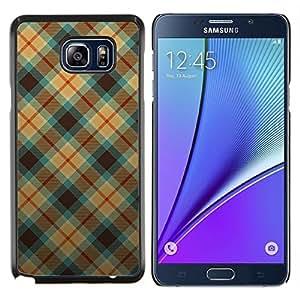 LECELL--Funda protectora / Cubierta / Piel For Samsung Galaxy Note 5 5th N9200 -- Modelo azul y anaranjado de la tela escocesa --