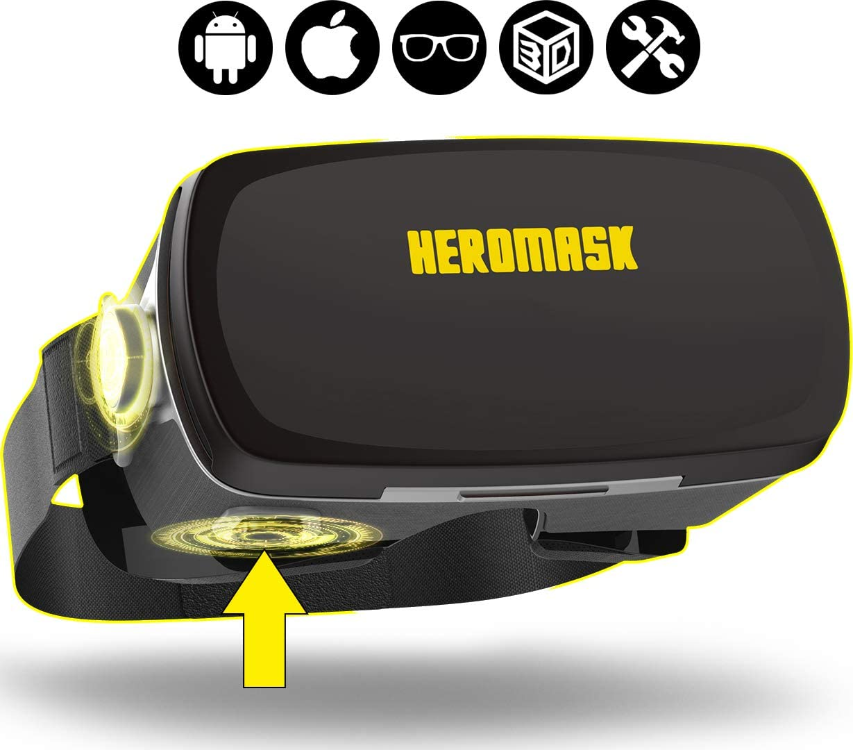 VR Headset - Virtual Reality gaming - 3D glasses - Compatible with iPhone 11 PRO XR... Samsung galaxy s10 plus, Xiaomi mi 9... Apple & Android phone- Professional VR goggles with button - Heromask PRO