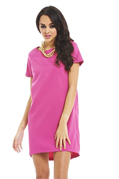 AX Paris Plain Smock Dress(Pink, Size:6)