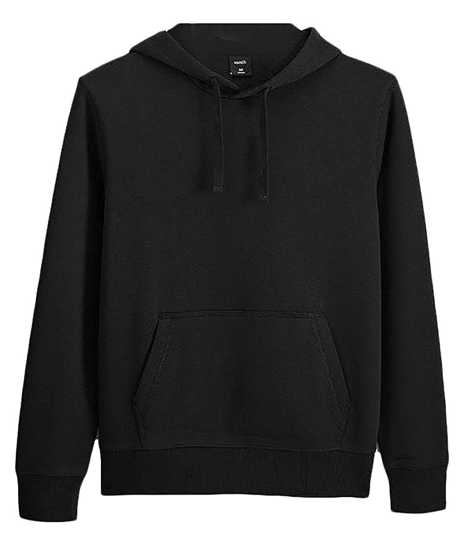 lovever Mens Casual Long Sleeve Drawstring Solid Hooded Pullover Sweatshirt
