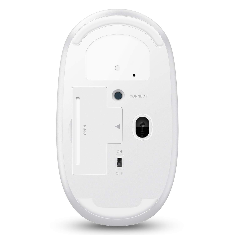 OMOTON Mouse Piatto Bluetooth Wireless Senza Filo Compatibile con iPad//iPhone Android Clic Silenzioso-Sottile e Leggero -Bianco ,MacBook,Windows Versione 13 o Successiva