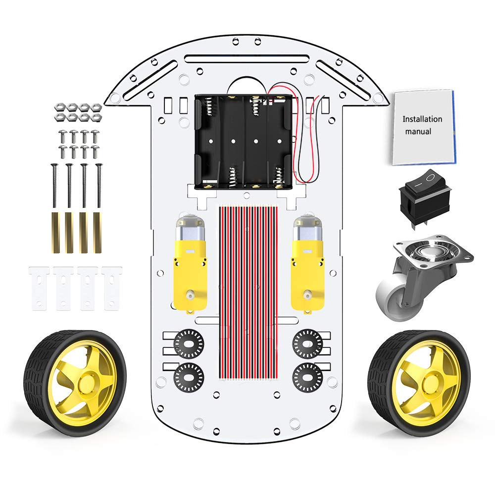 2WD Robot Smart Car Chassis DIY Kits Intelligent Engine with Tracking Speed and Tacho Encoder 65x26mm Tire for Arduino Raspberry Pi 2WD