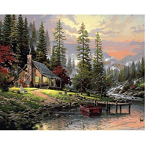 Paint By Numbers Kit DIY Digital Oil Painting Coloring on Canvas Hand Painted Painting By Handmade for Beginner, Painting Lovers – Graceful Wild Hut 16x20 - Hut Gauge