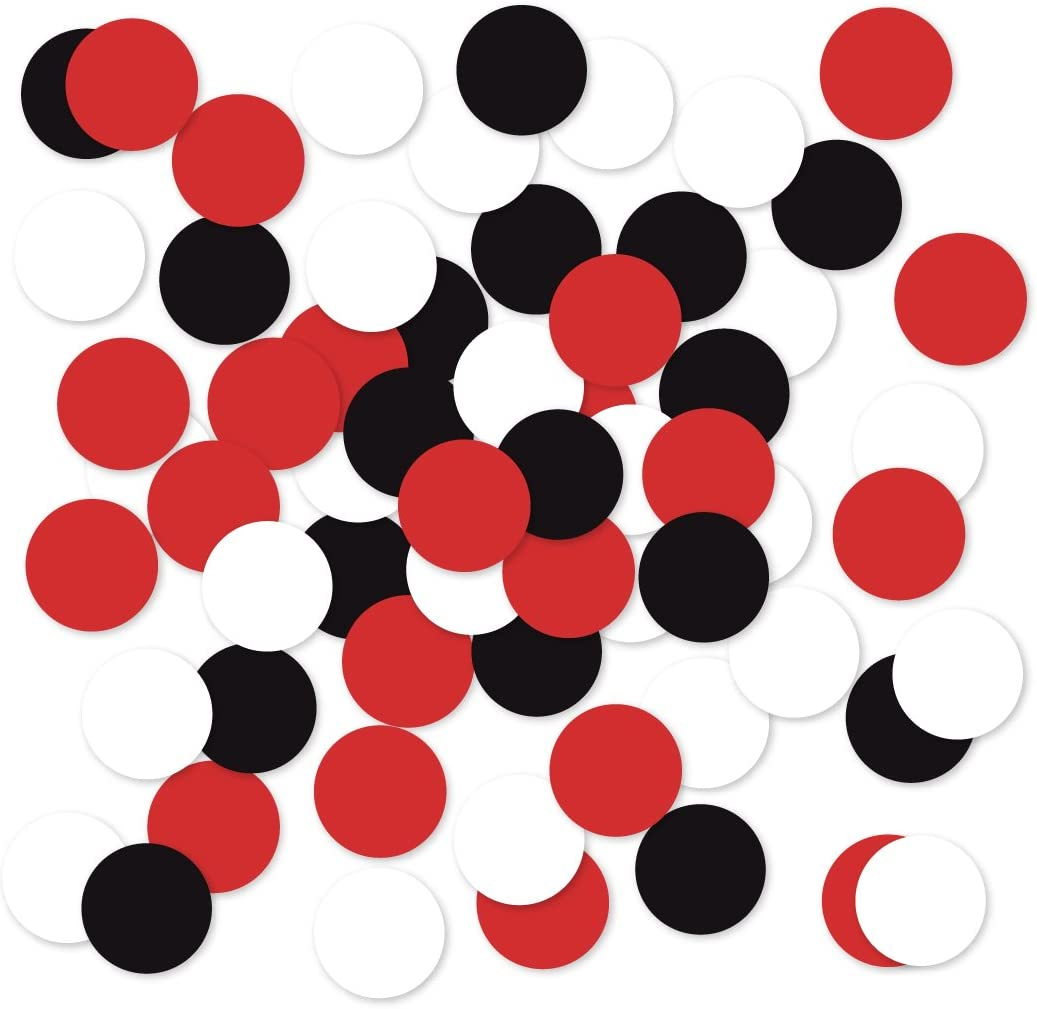 Andaz Press Large Confetti Party Table Decor, 1.5-inch Double-Sided, Red, Black, White, 180-Pack, Lil Ladybyg Baby Shower Theme Birthday Supplies