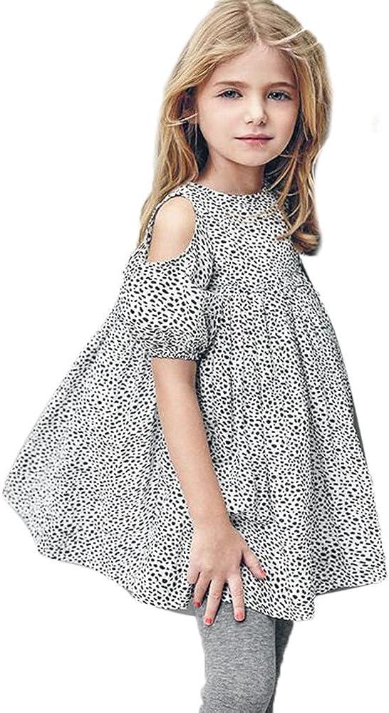 Baby Dress,amazingddeal Girls Elegant Short Sleeve Off Shoulder Leopard Princess Dress Skirt