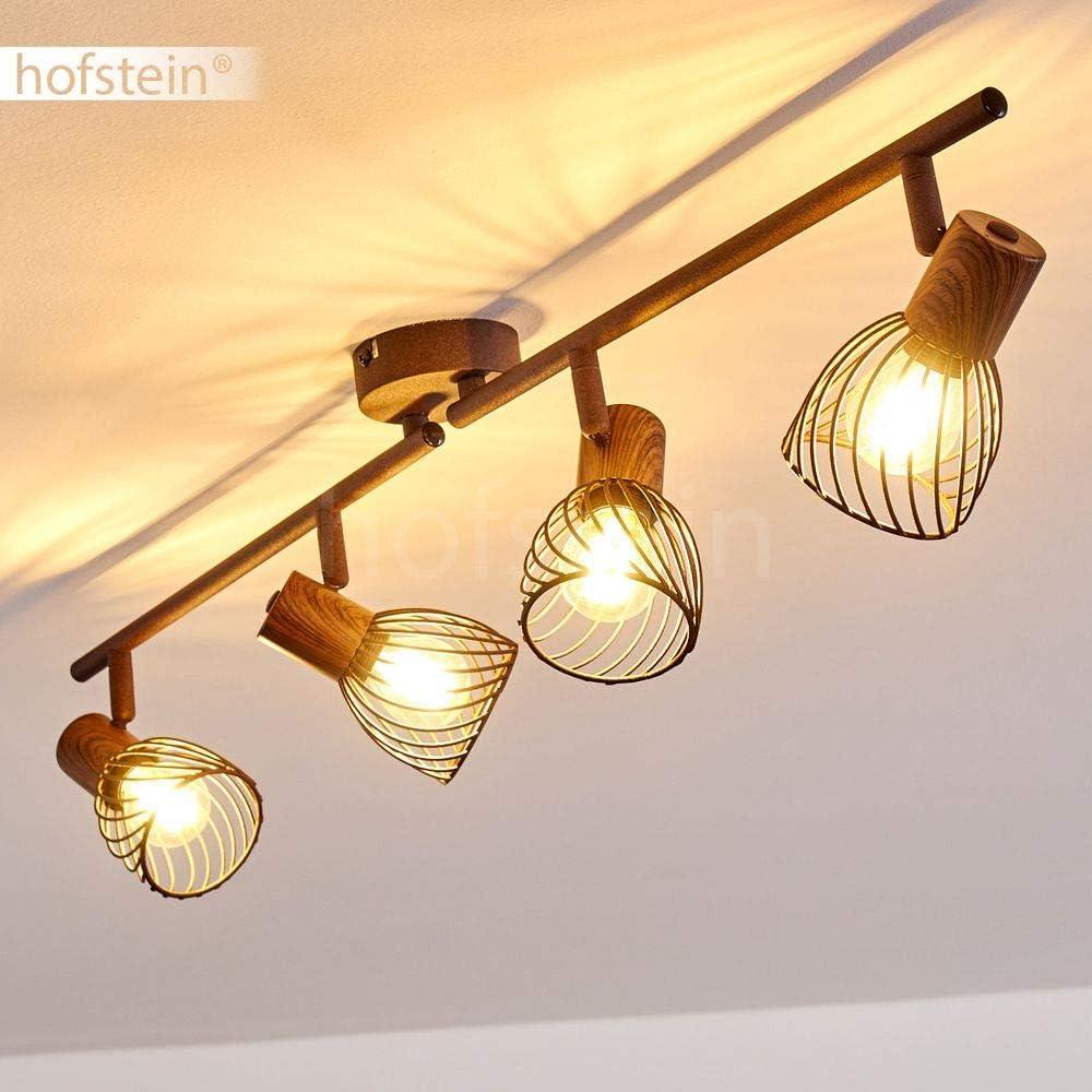 40 Watt mit verstellbaren Strahlern 3-flammig Deckenleuchte Arjen 3 x E14 -Fassung max f/ür LED Leuchtmittel geeignet Deckenlampe aus Metall//Holz in Rost//Braun Spot im Retro//Vintage Design