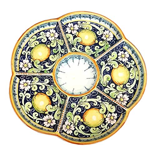 (CERAMICHE D'ARTE PARRINI - Italian Ceramic Serving Appetizer Tray Plate Pottery Decorative Lemons Hand Painted Made in ITALY Tuscan )