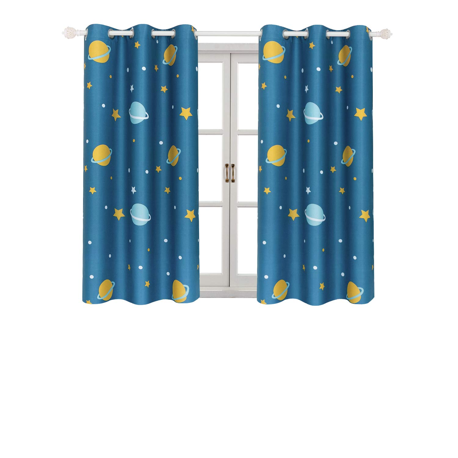 Room Darkening Kids Curtains for Bedroom –Cute Planet Printed Curtains with Twinkle Star Patterns, Grommet, 2 Panels (42'' Wx63 L Each Panel, Blue)