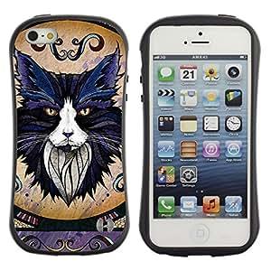Hybrid Anti-Shock Bumper Case for Apple iPhone 5 5S / Majestic Cat
