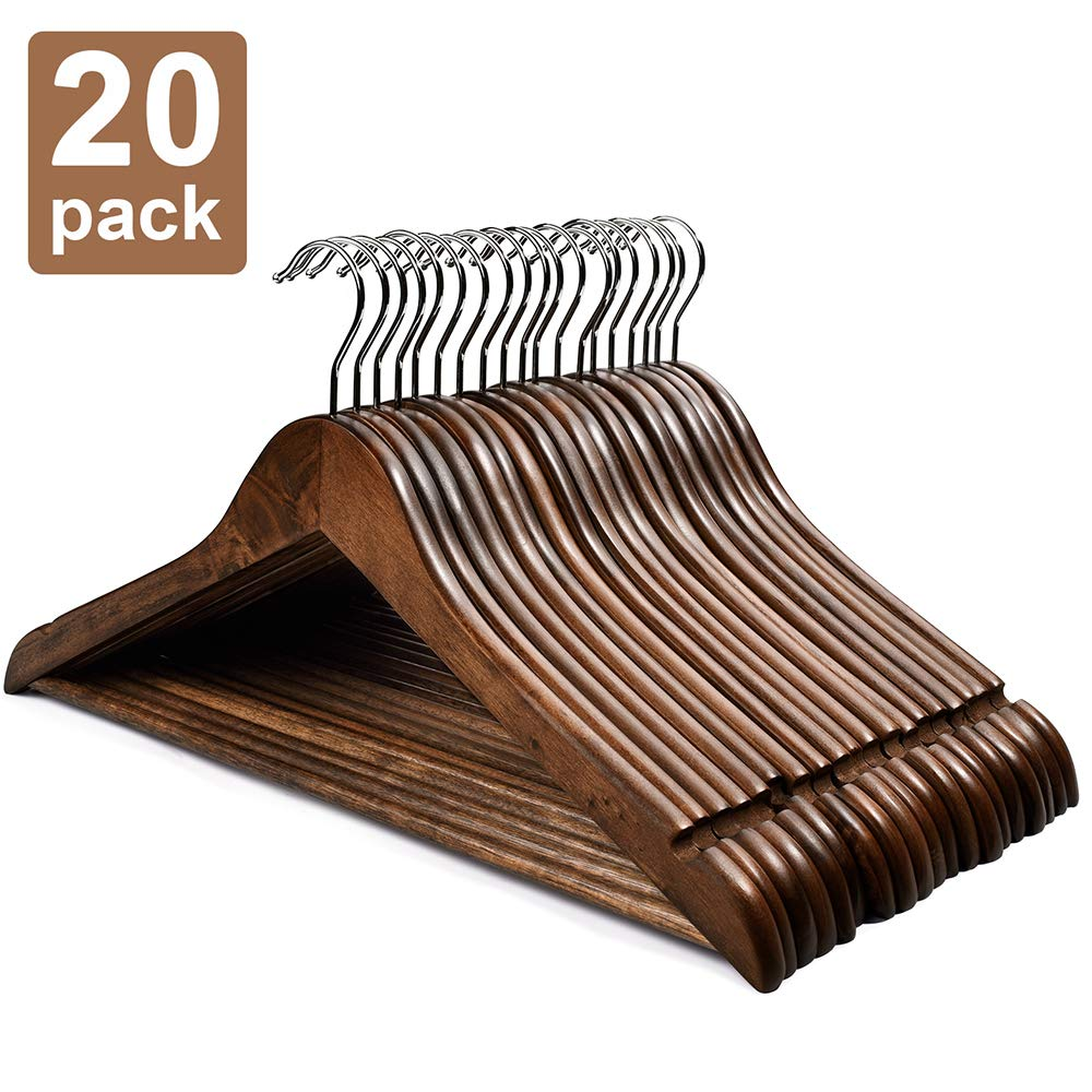 HOUSE DAY Wooden Hangers 20 Pack Wooden Clothes Hanger Wooden Suit Hangers Walnut Smooth Finish Premium Wood Hangers for Clothes Pants Jeans