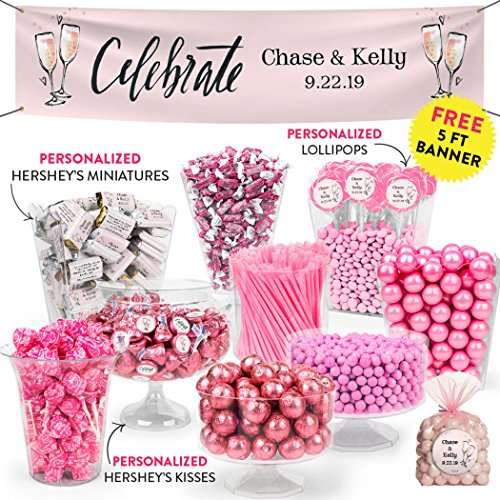 Pink Wedding Reception Candy Buffet Personalized Hershey's Miniatures & Kisses with Gumballs, Frooties, Lollipops and More 15lbs+ (Free Cold Packaging)