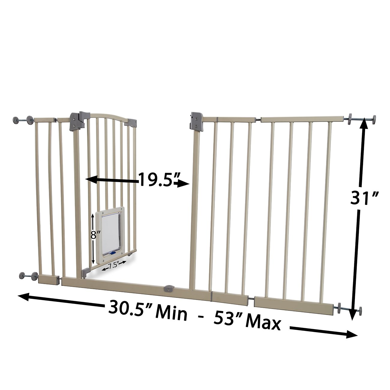 Paws & Pals Dog Gate Multifunctional Indoor Metal Baby Barrier - Adjustable Tall-Wide Fence for House Doorway with Lockable Pet Door Flap- 53'' Max Extendable by Paws & Pals (Image #3)