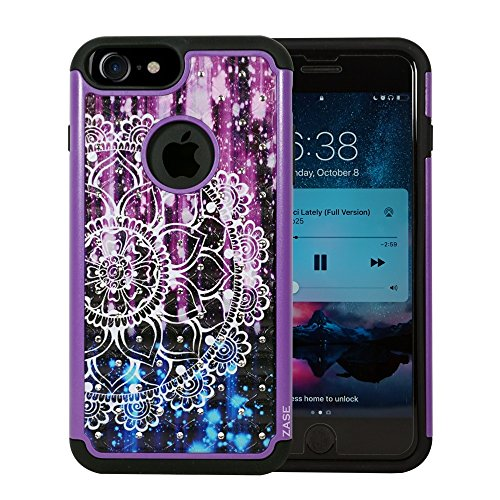Full Bling Purple Flowers - ZASE Design Case Compatible with iPhone 8 7 (4.7 inch) Hybrid Dual Layer Protection Jewel Rhinestone [Shock Resistant Defender] Hard Shell Crystal Glitter Bling Cover (Diamond Purple Mandala)