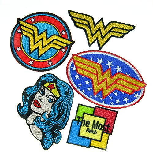 Lot of 5 (4+1) Wonder Women Superhero Hero Comics Cartoon Logo Kids Baby Girls Jacket T shirt Embroidered Iron / Sew On Patch