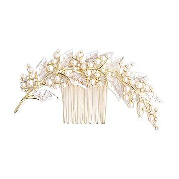 Haarschmuck Handgemachte Blume Crystal Pearl Hochzeit Haarkamm Braut Tiara