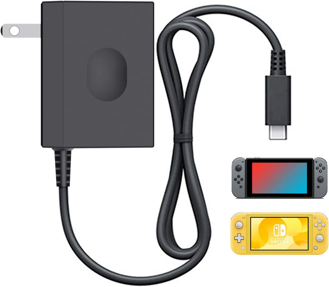 YCCSKY - Cargador para Nintendo Switch y Nintendo Switch Lite, adaptador de CA de repuesto para Nintendo Switch y Switch Lite (compatible con modo de TV), color negro: Amazon.es: Videojuegos