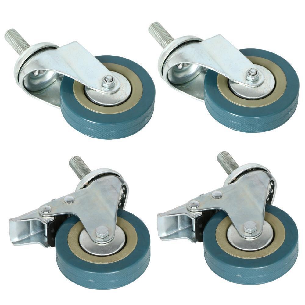 Popamazing Roulette pivotante robuste en caoutchouc de 75/mm avec frein roulettes de chariot pour meubles Lot de 4
