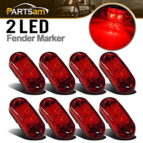 (Partsam 8x Oval Red Clear Lens 2 Diode LED Trailer Truck Clearance Side Marker Light)