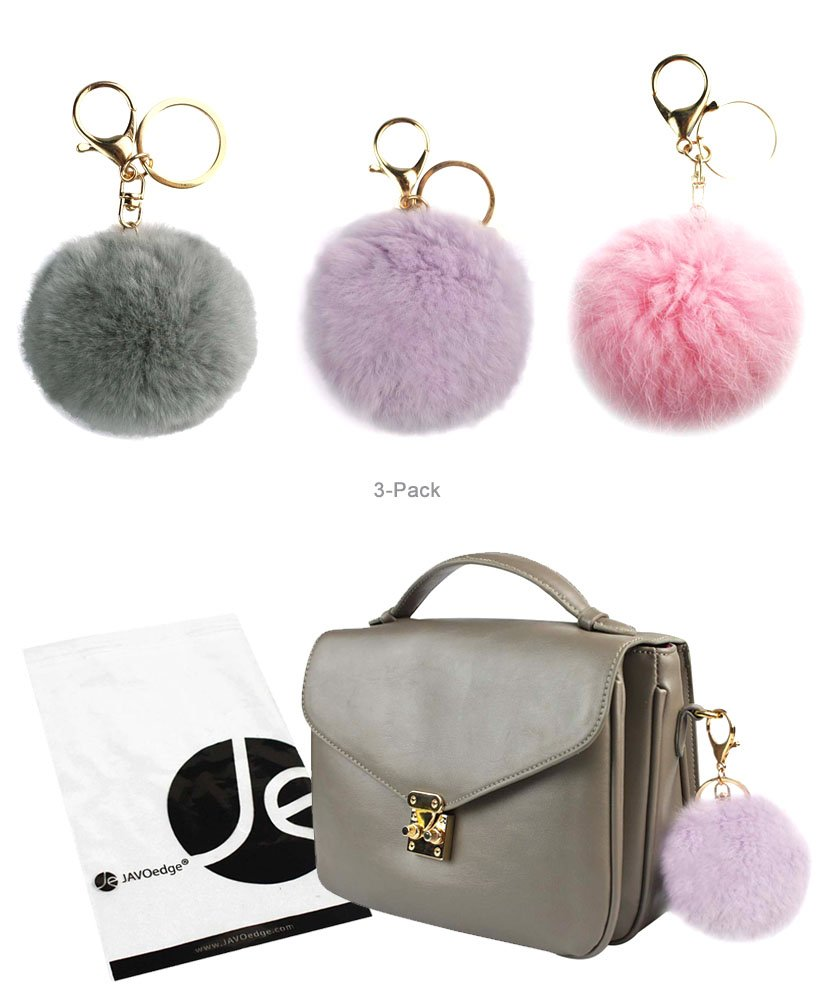 JAVOedge (3 Pack) Pom Pom Furry (3.1 Inch) Style Ball Keychain with Gold Keyring (Gray, Pastel Purple, Pink)
