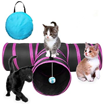 GXL - Túnel de Juguete para Gatos, Plegable, 3 Vías, Bolsa de Almacenamiento