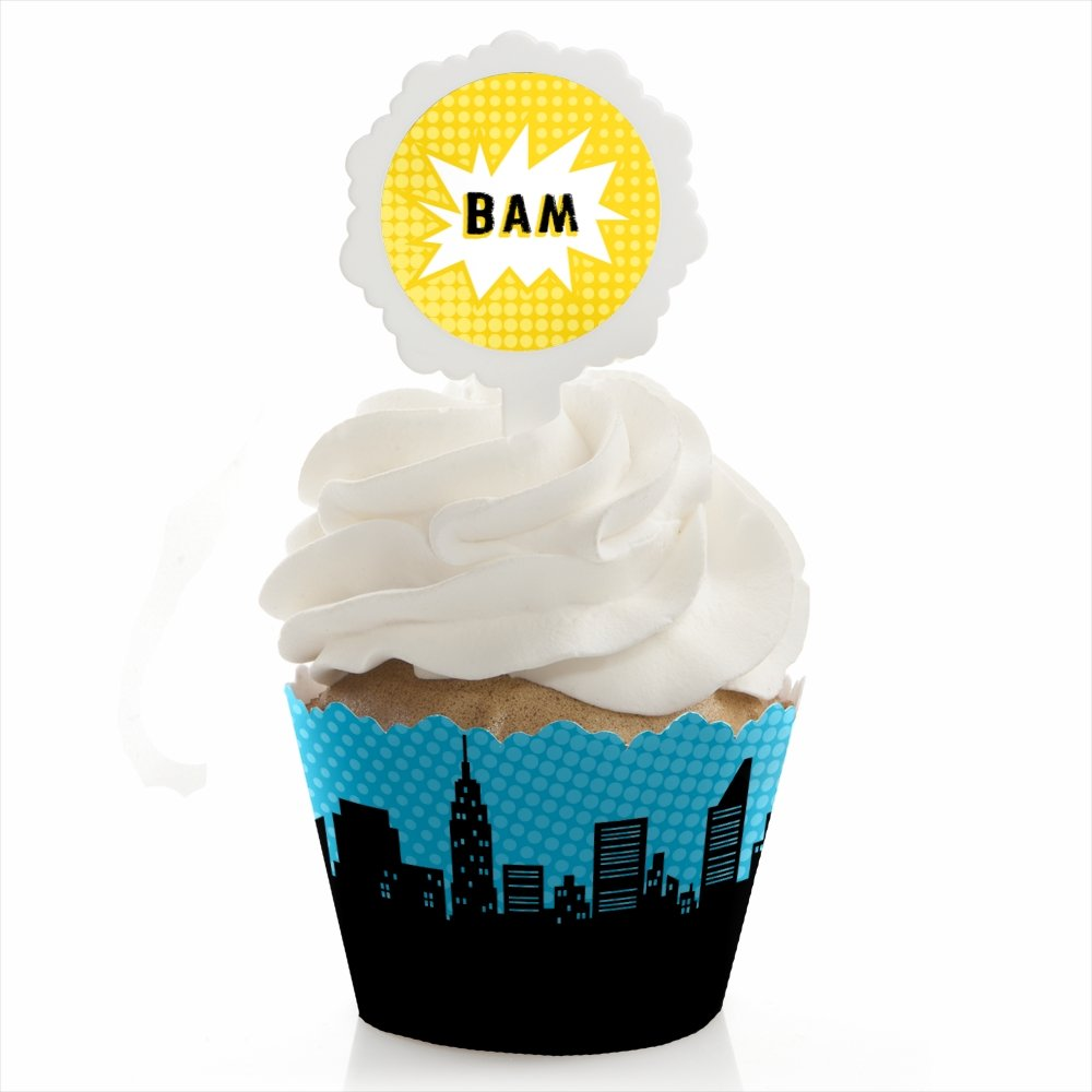 BAM! Superhero - Baby Shower or Birthday Party Cupcake Wrapper and Pick - Cupcake Decorating Kit - Set of 24