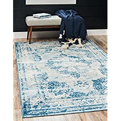 Unique Loom Sofia Collection Traditional Vintage Blue Area Rug (5' x 8')