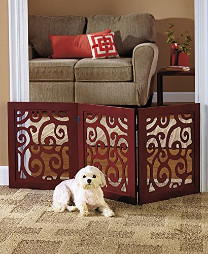 3 Section Adjustable And Scrolled Wooden Pet Gate By Etna