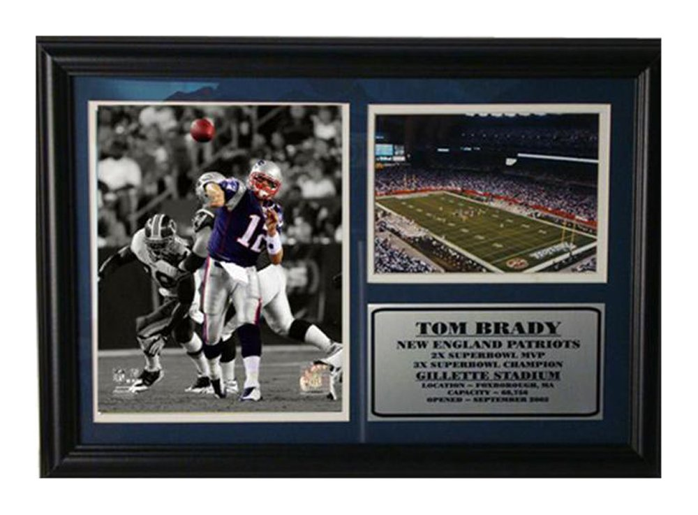 Encore Select 126-33 NFL New England Patriots Framed Tom Brady Photo and Gillette Stadium Print, 12-Inch by 18-Inch