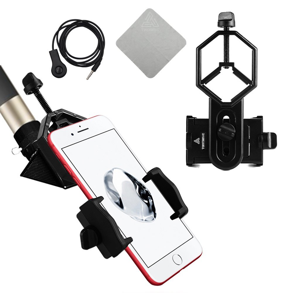 New Version with Handsfree controllor Universal Cell Phone Adapter Mount - Compatible with Binocular Monocular Spotting Scope Telescope and Microscope - For Iphone Sony Samsung Moto Etc Tontanic tt-DG-001