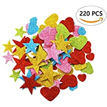 DLOnline 220 Pieces Foam Glitter Stickers, Star and Mini Heart Shapes for Kid's Arts Craft Supplies Greeting Cards Home Decoration DIY Craft Ornament