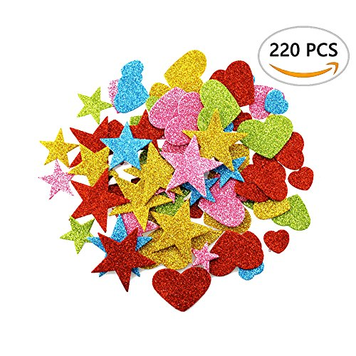 DLOnline 220 Pieces Foam Glitter Stickers, Star and Mini Heart Shapes for Kid's Arts Craft Supplies Greeting Cards Home Decoration DIY Craft - Kids For Shape Heart